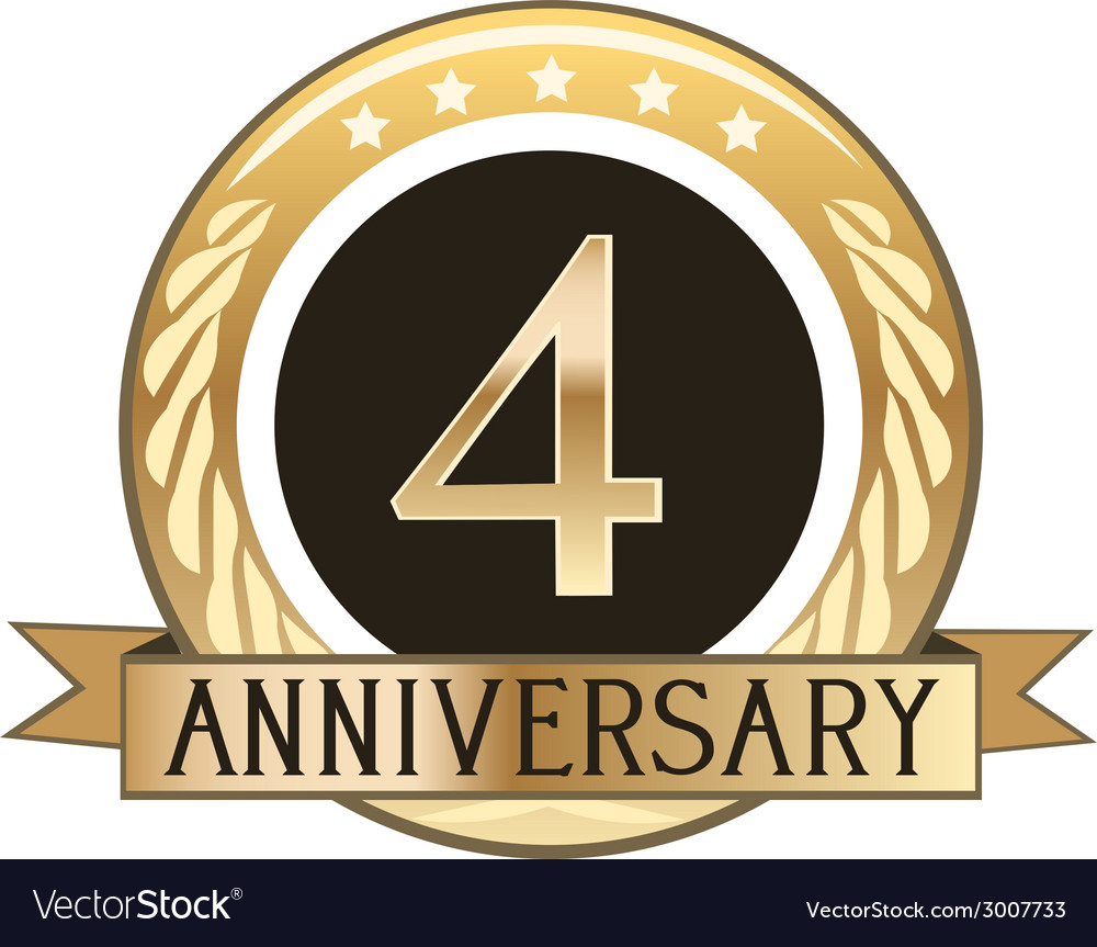 Four year anniversary badge vector | Price: 1 Credit (USD $1)