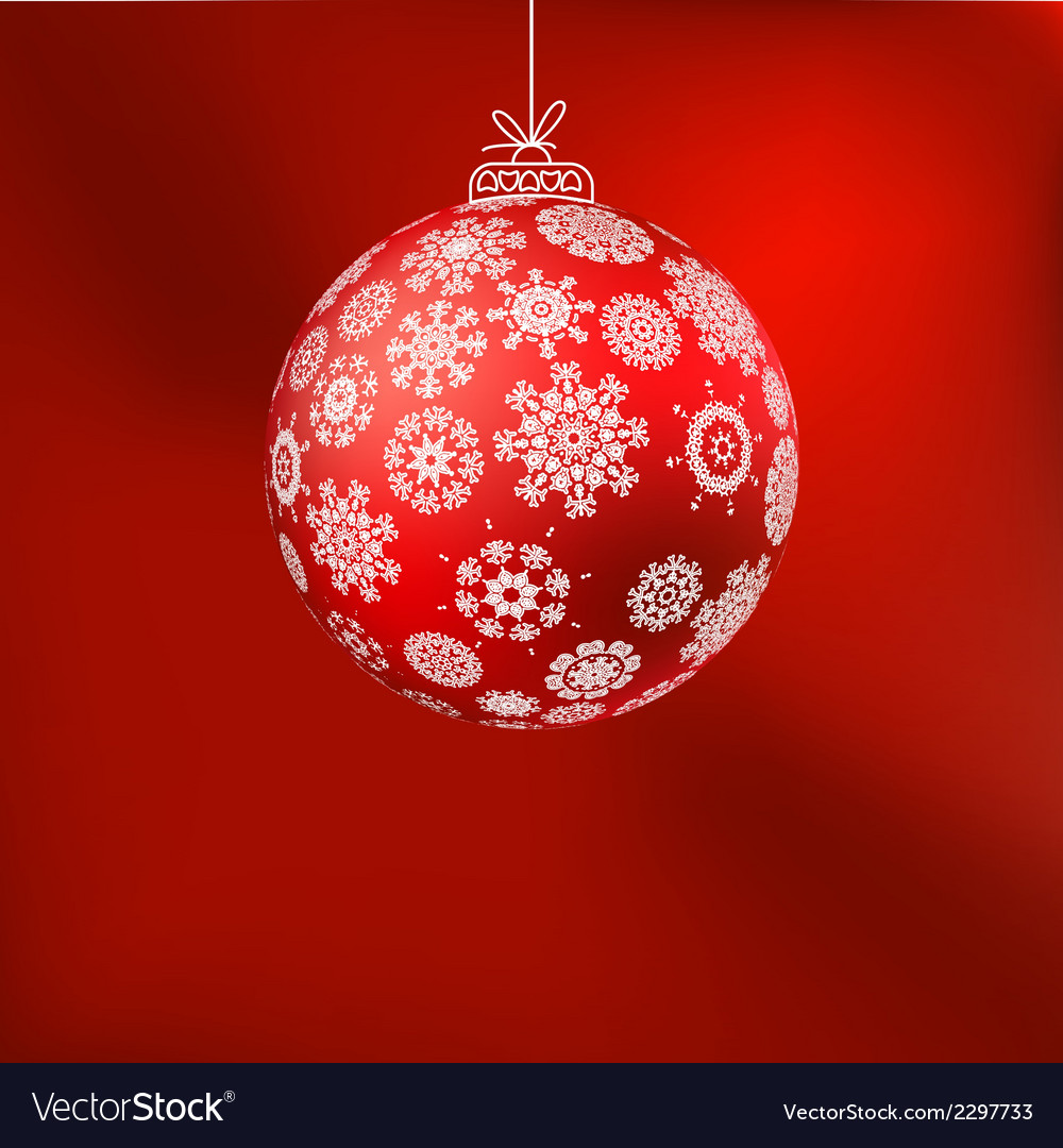 Hristmas background with red ball eps 8 vector | Price: 1 Credit (USD $1)