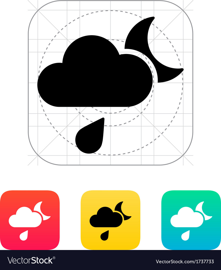 Night rain weather icon vector | Price: 1 Credit (USD $1)