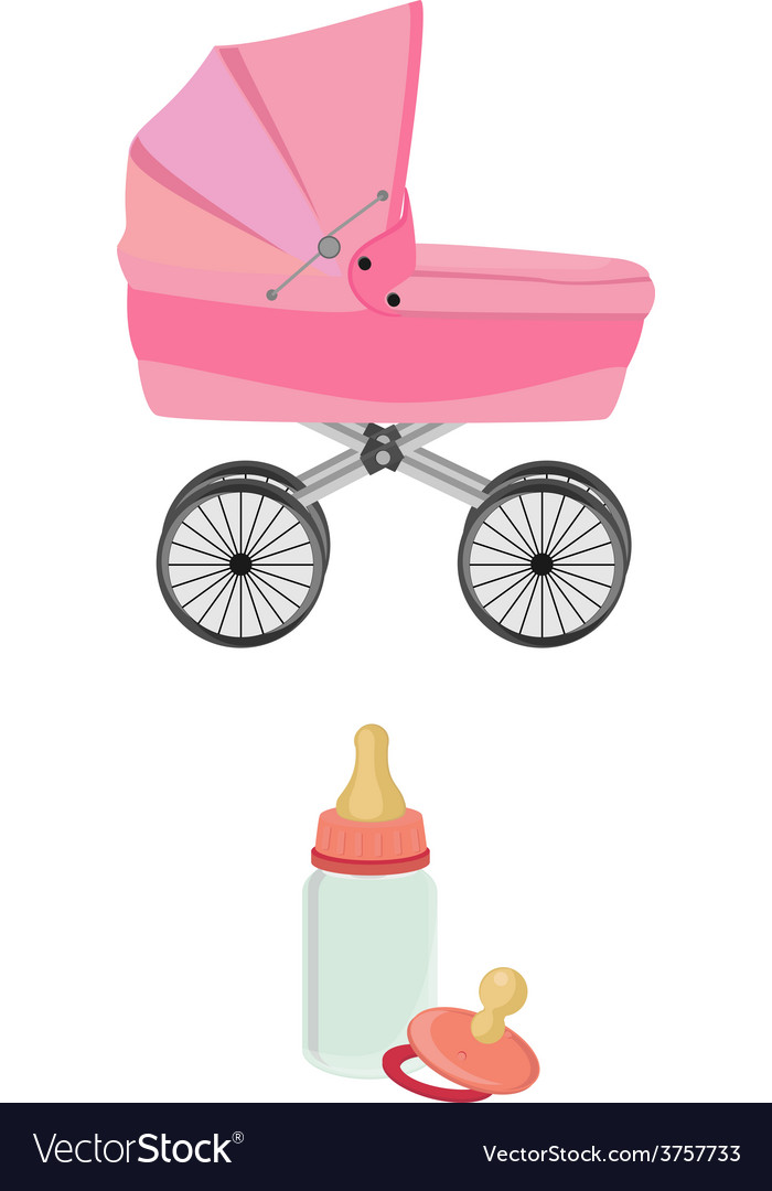 Pink baby carriage bottle and pacifier vector | Price: 1 Credit (USD $1)