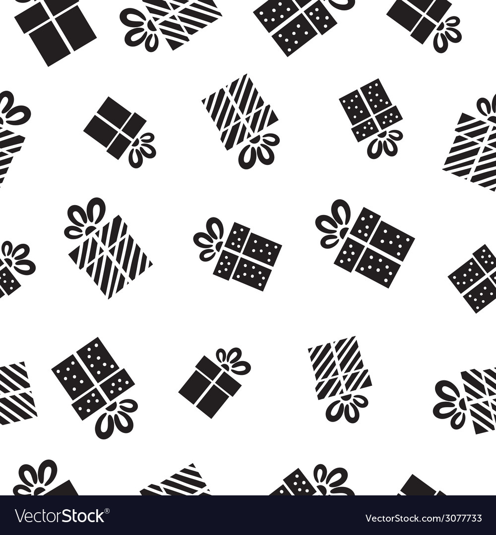 Seamless gift pattern black gift boxes on white vector | Price: 1 Credit (USD $1)