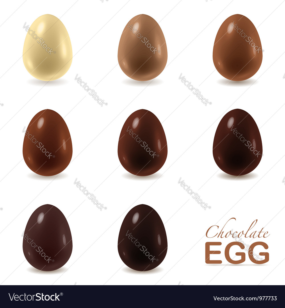 Set of chocolate eggs on white vector | Price:  Credit (USD $)