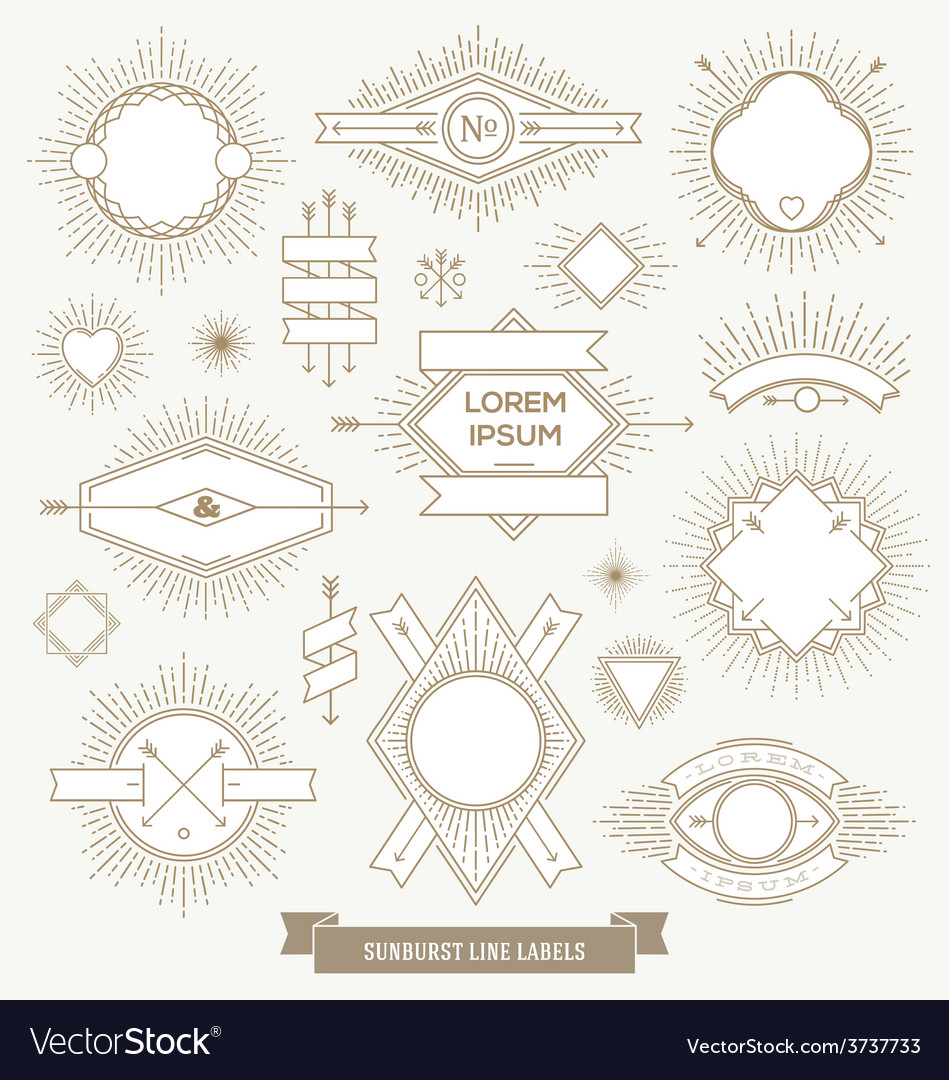 Set of line design emblem sign and hipster labels vector | Price: 1 Credit (USD $1)