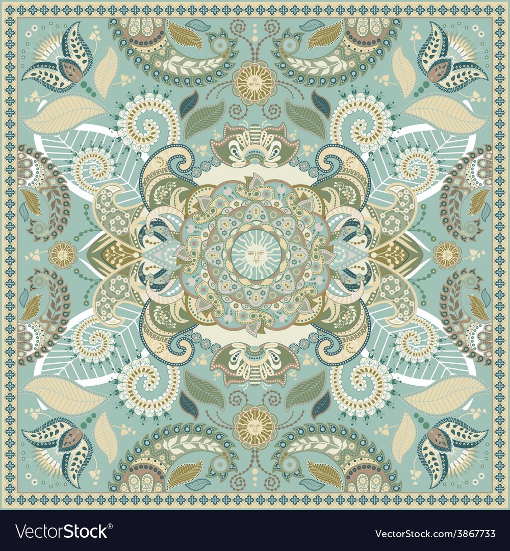 Square ornamental pattern with flowers vector | Price: 1 Credit (USD $1)