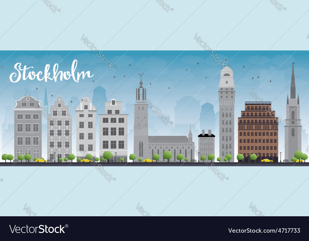 Stockholm skyline with grey buildings vector | Price: 1 Credit (USD $1)