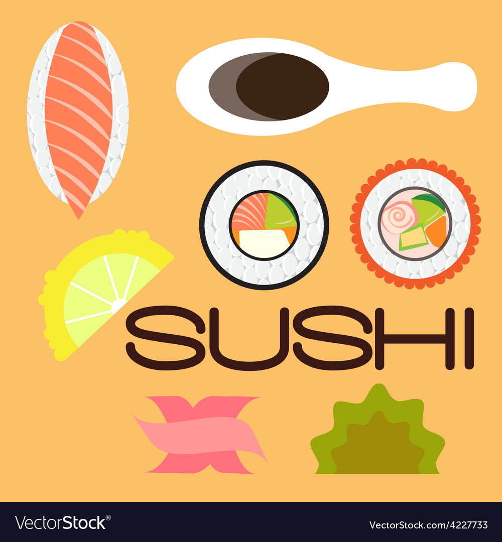 Sushi flat vector | Price: 1 Credit (USD $1)
