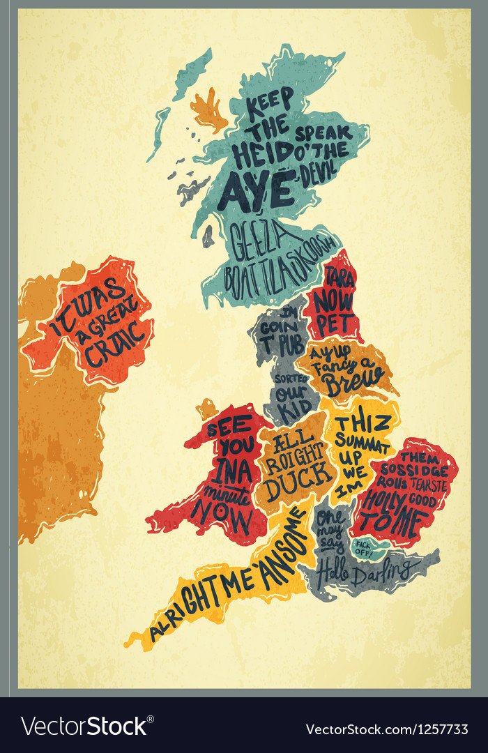United kingdom typography accents map vector | Price: 1 Credit (USD $1)