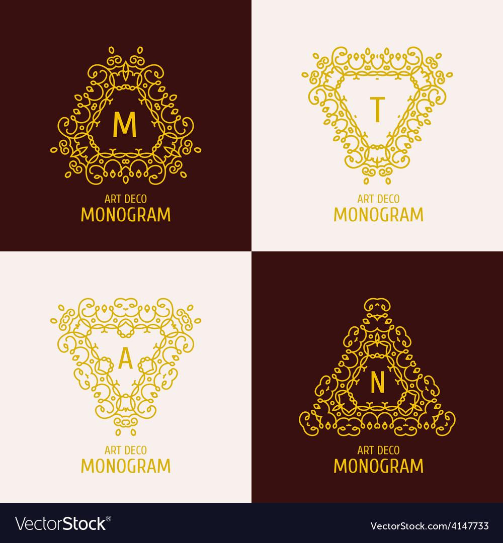 Vintage floral logo floral monogram design vector | Price: 1 Credit (USD $1)