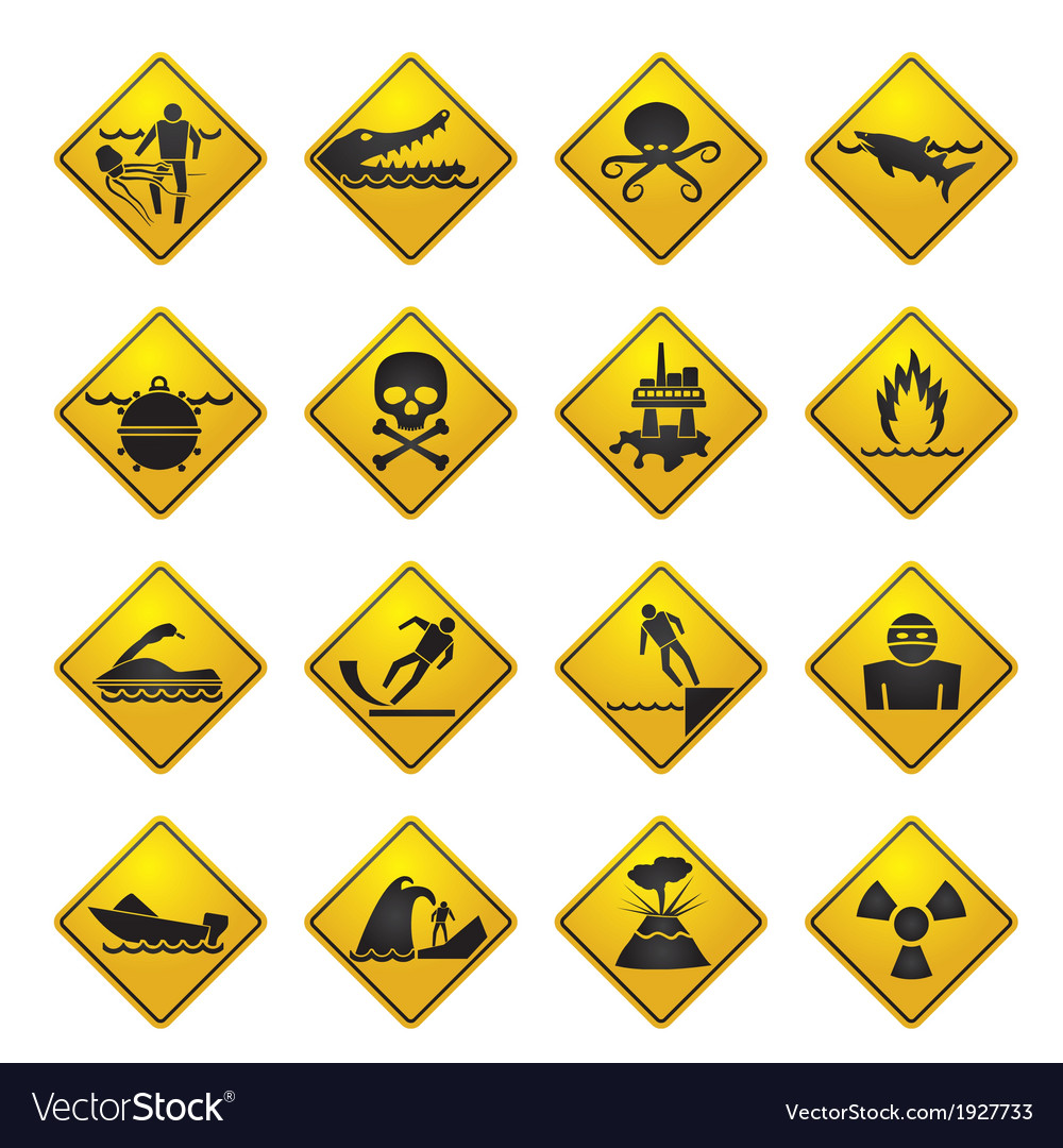 Warning signs for dangers in sea and rivers vector | Price: 1 Credit (USD $1)