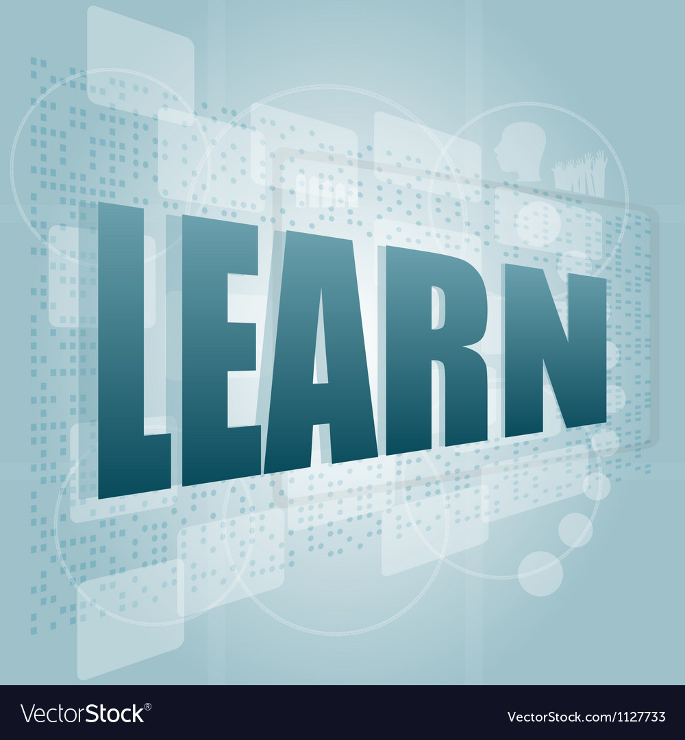 Words learn on digital screen education and learn vector | Price: 1 Credit (USD $1)