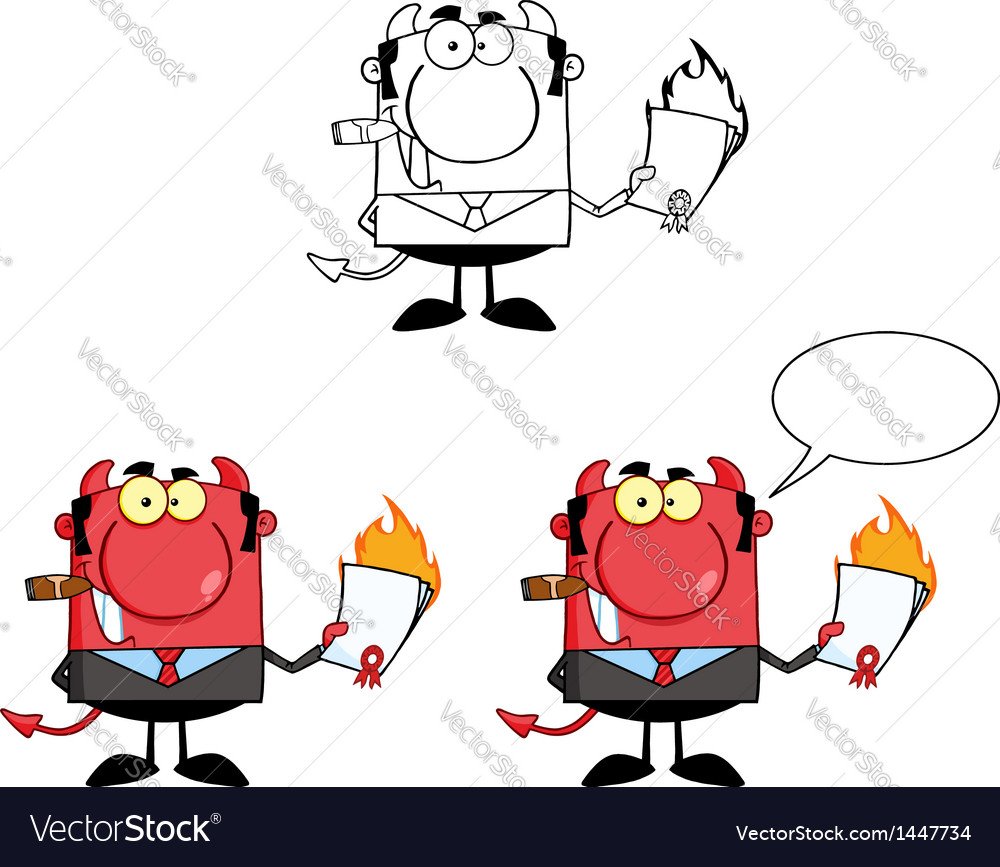 Devil boss holding a flaming bad contract vector | Price: 3 Credit (USD $3)
