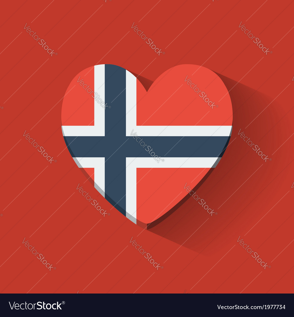Heart-shaped icon with flag of norway vector | Price: 1 Credit (USD $1)