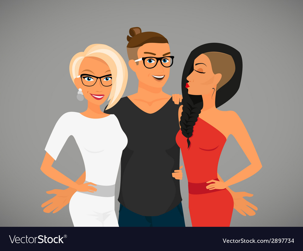 Hipster guy and hispretty girlfriends vector | Price: 1 Credit (USD $1)