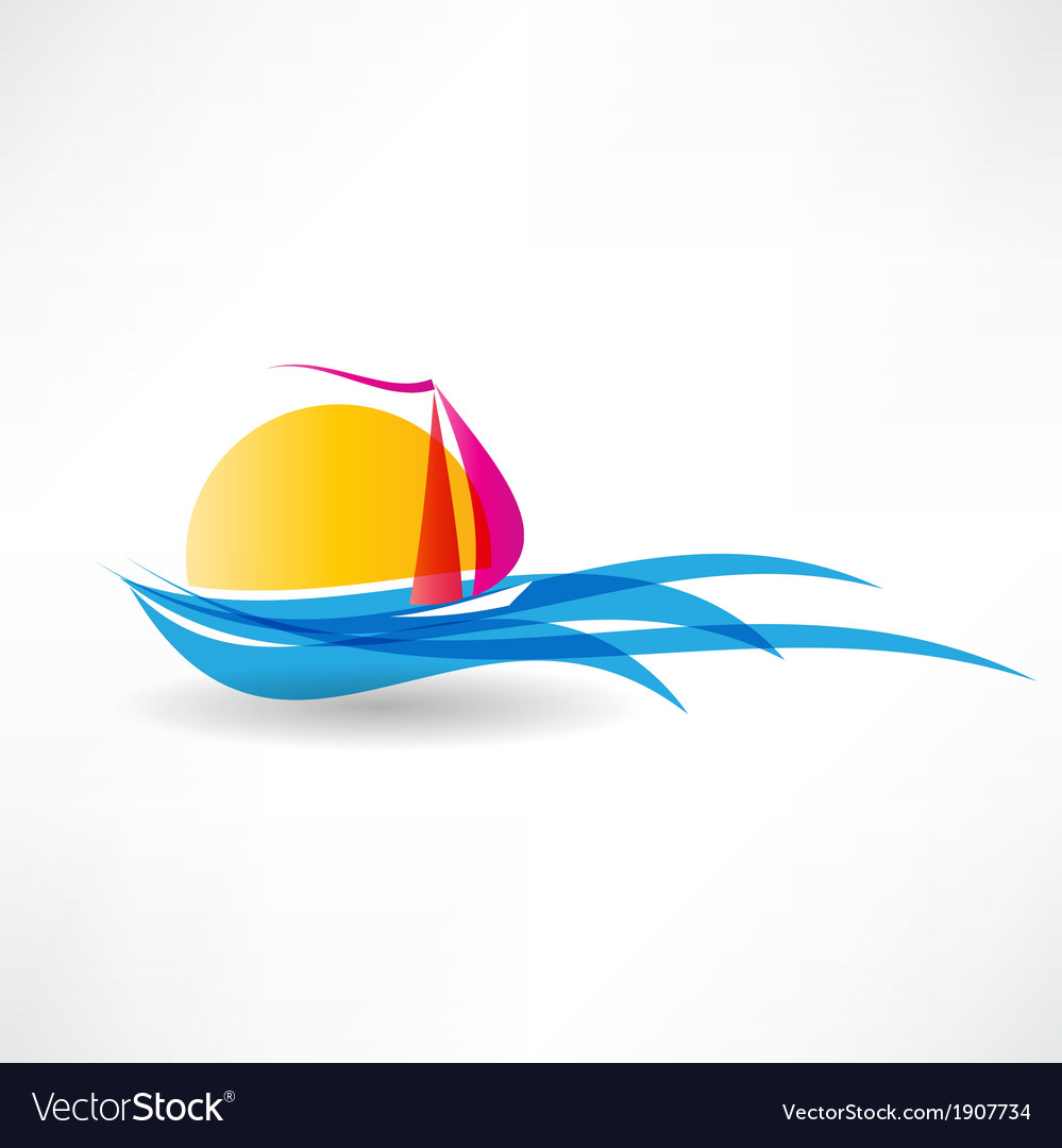 Sailboat at sea icon vector | Price: 1 Credit (USD $1)