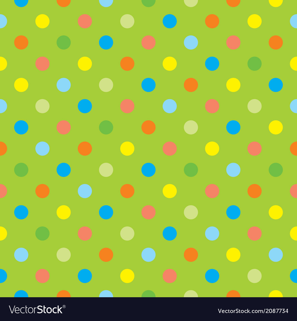 Seamless polka dots on green tile background vector   Price: 1 Credit (USD $1)