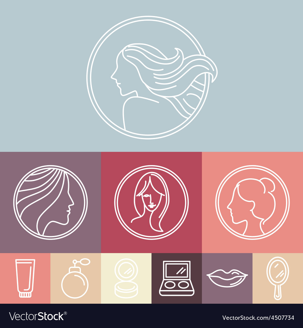 Womans faces on circle emblems vector | Price: 1 Credit (USD $1)