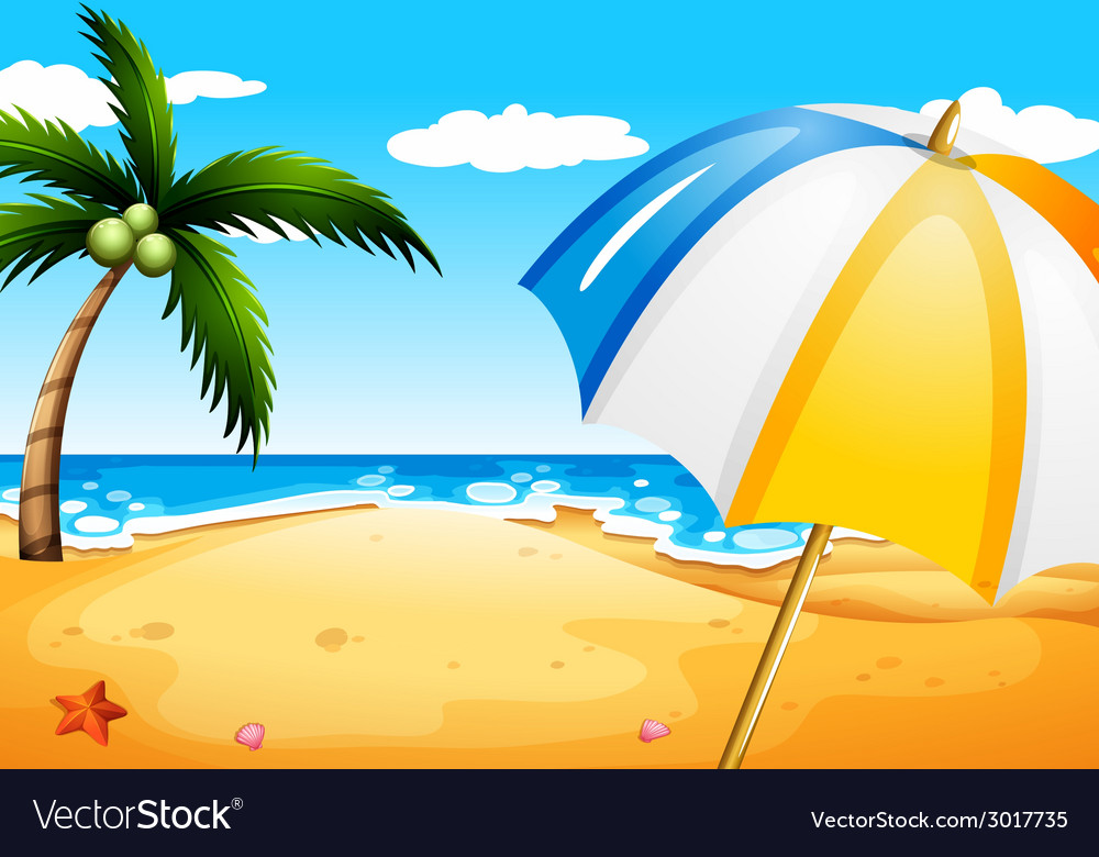 A beach with an umbrella vector | Price: 1 Credit (USD $1)