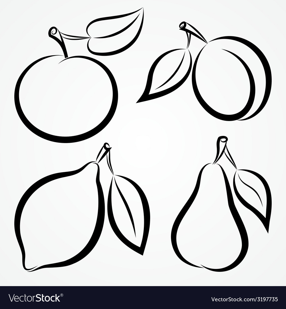Abstract hand-drawn silhouettes of fruits vector | Price: 1 Credit (USD $1)
