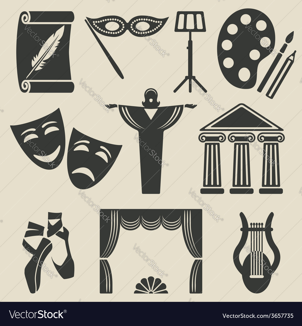 Art theater icons set vector | Price: 1 Credit (USD $1)