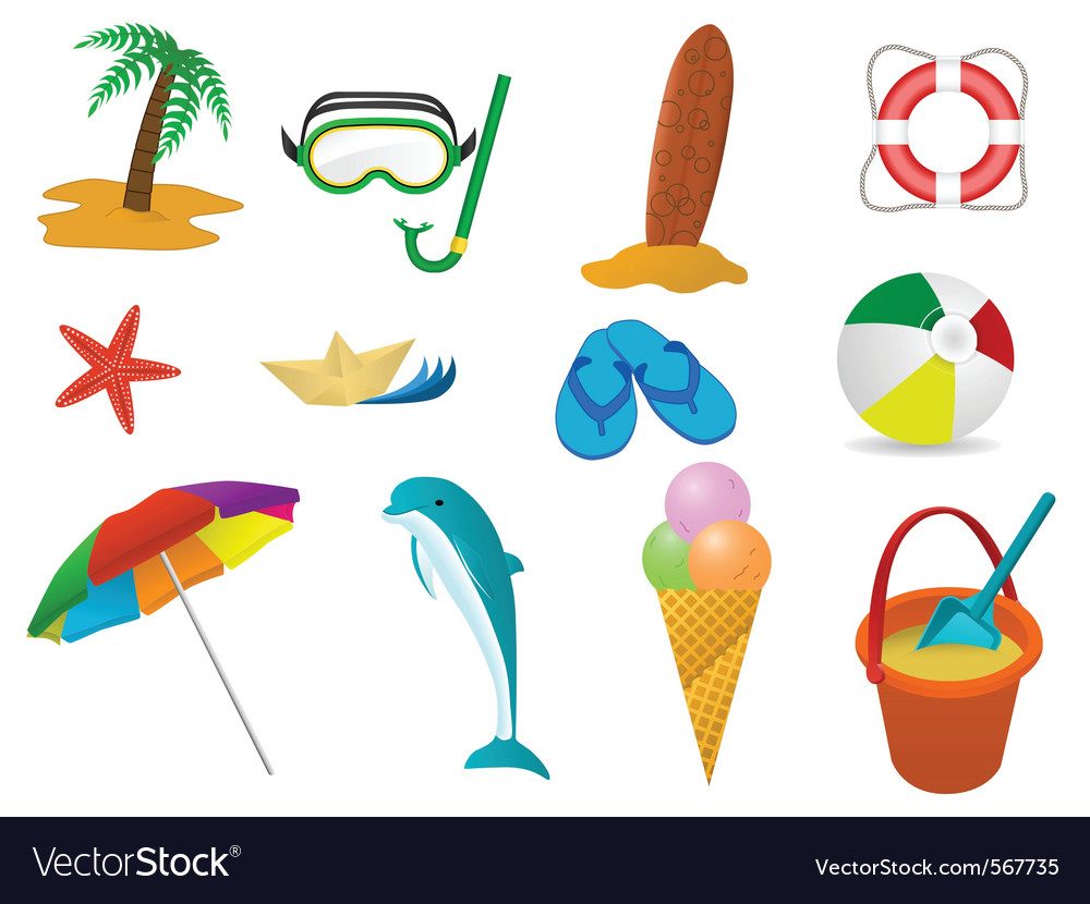 Beach holidays icon set vector | Price: 1 Credit (USD $1)