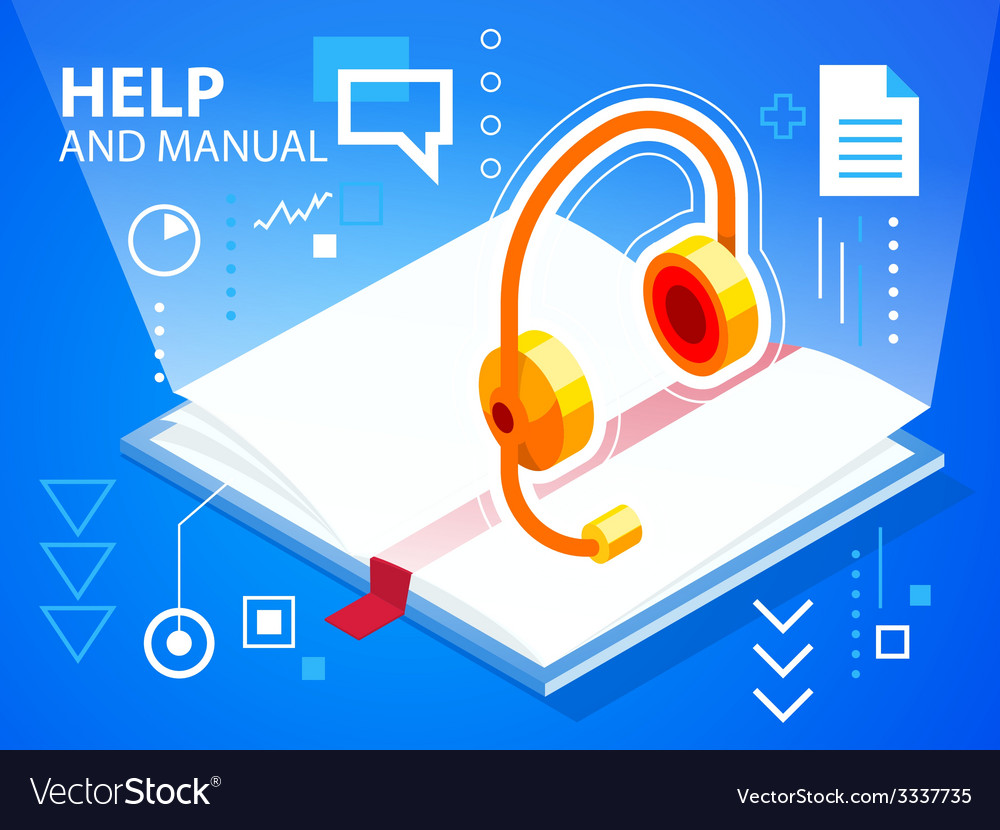Bright help book and head phone on blue back vector | Price: 3 Credit (USD $3)