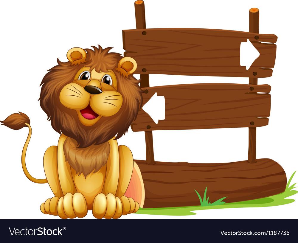Cartoon lion signboard vector | Price: 1 Credit (USD $1)