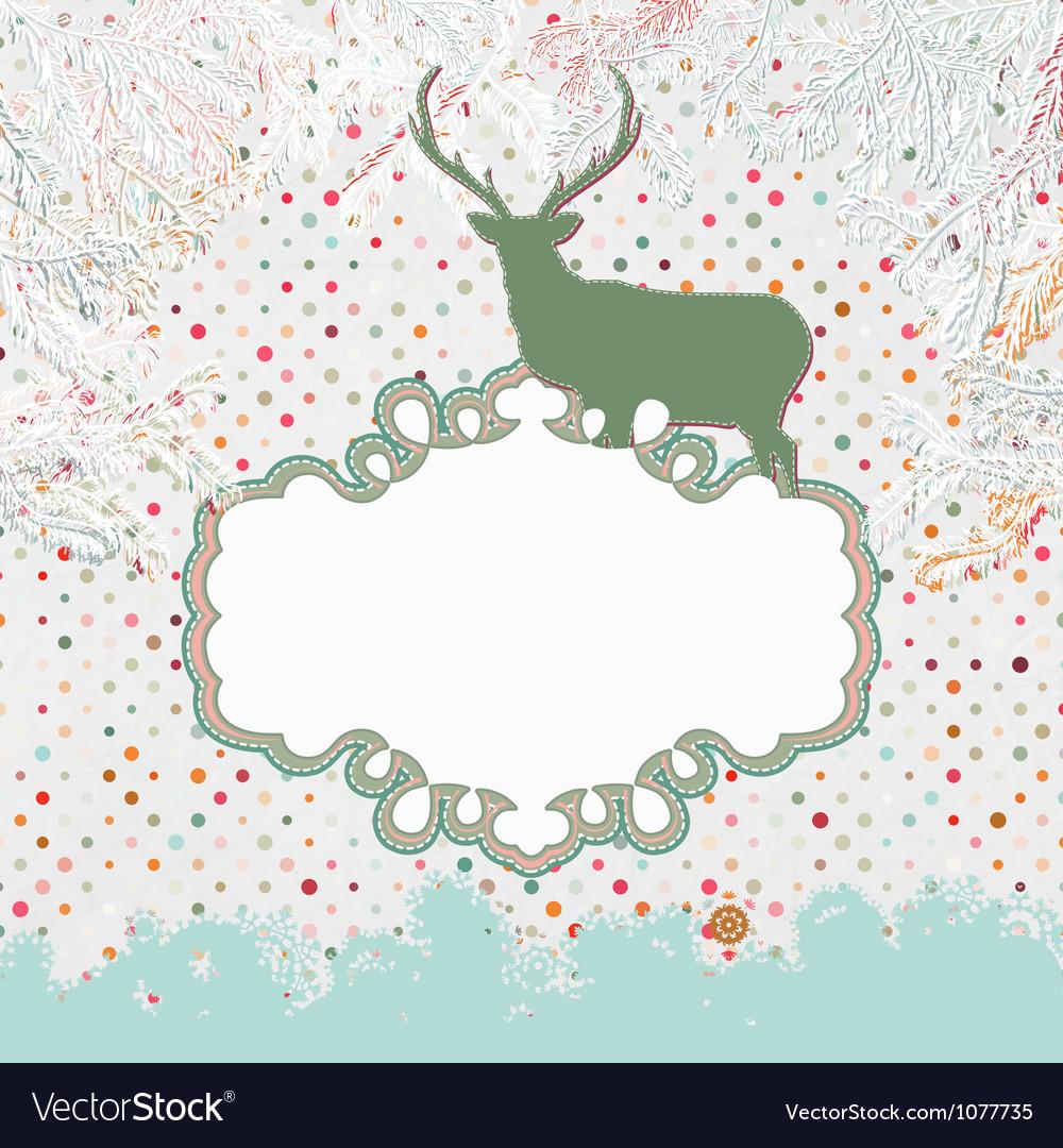 Christmas deer template card vector | Price: 1 Credit (USD $1)