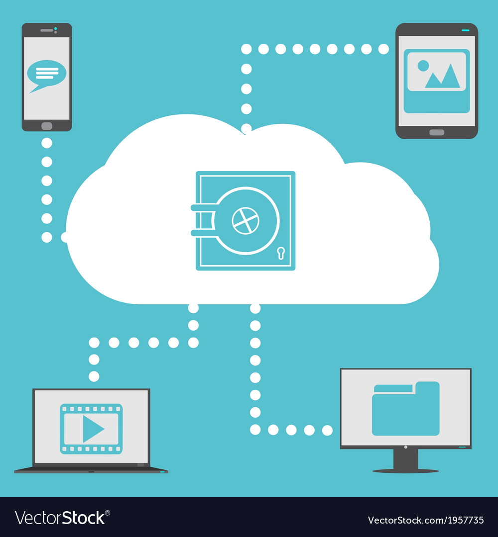 Cloud with devices vector | Price: 1 Credit (USD $1)