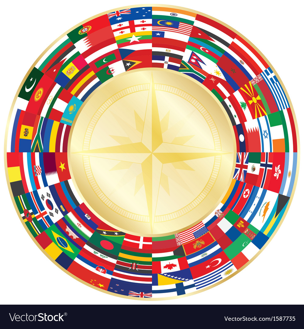 Flags around compass vector | Price: 1 Credit (USD $1)