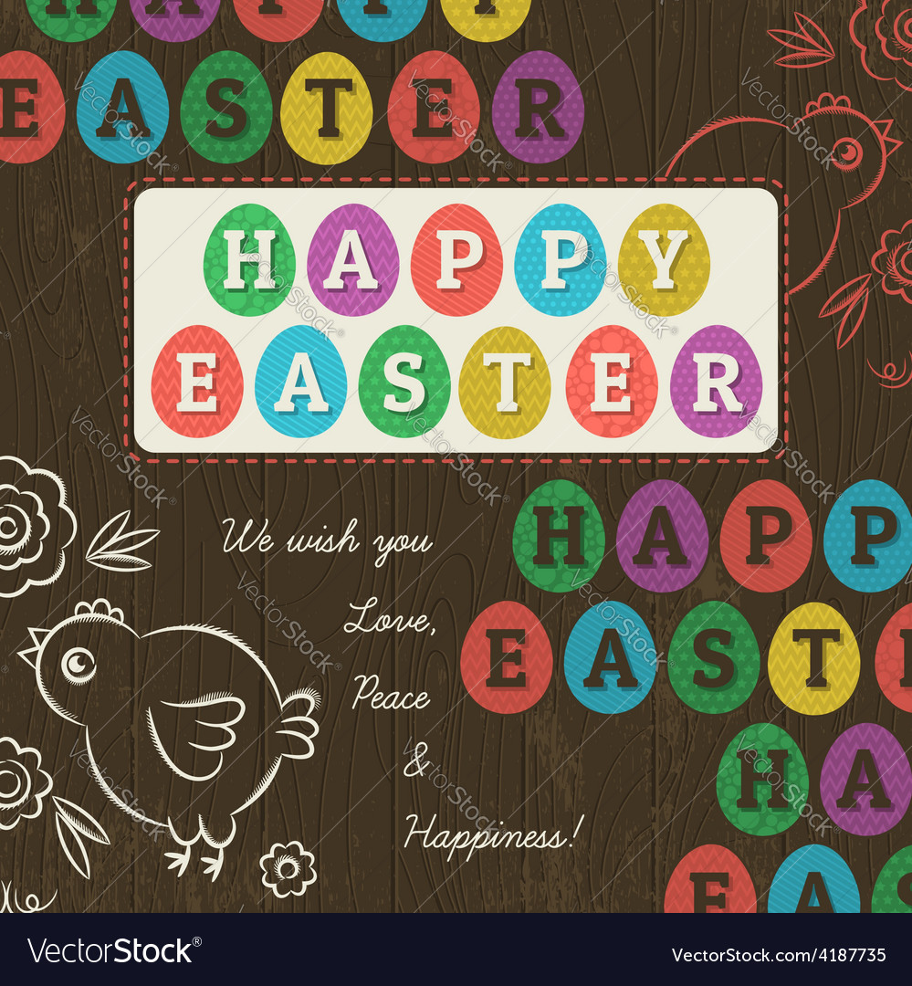 Greetings card for easter day with colored eggs vector | Price: 1 Credit (USD $1)
