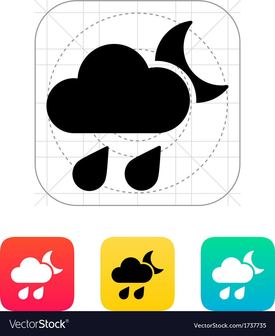 Night downpour weather icon vector | Price: 1 Credit (USD $1)