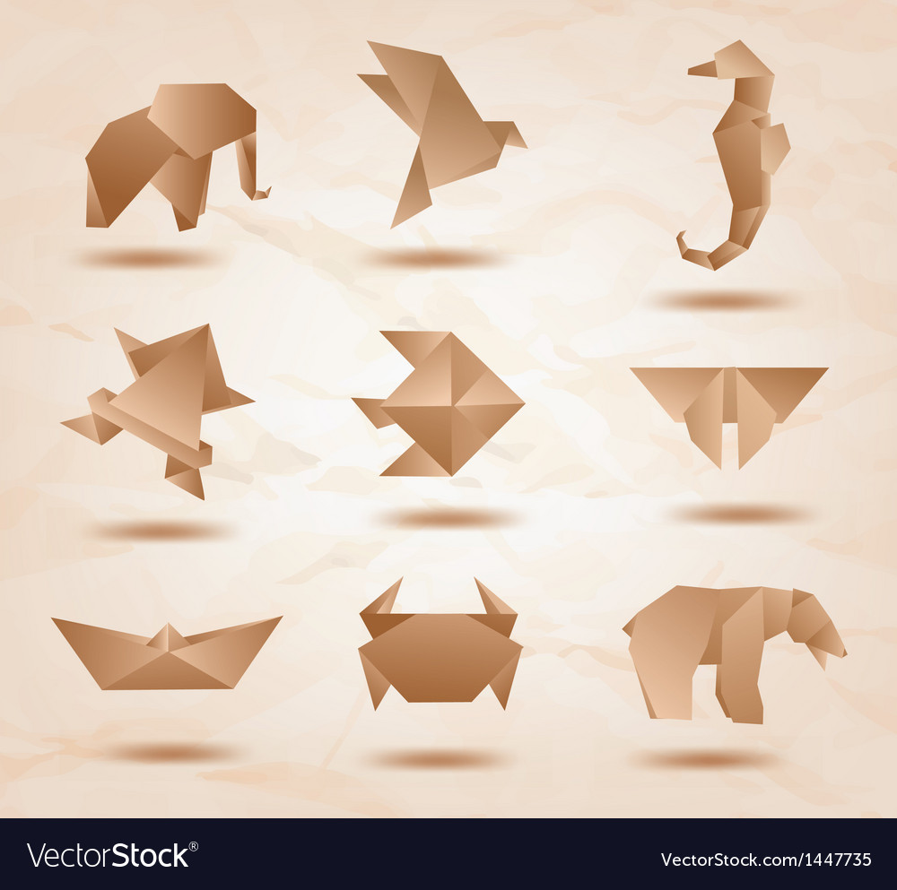 Origami kraft animals vector | Price: 1 Credit (USD $1)