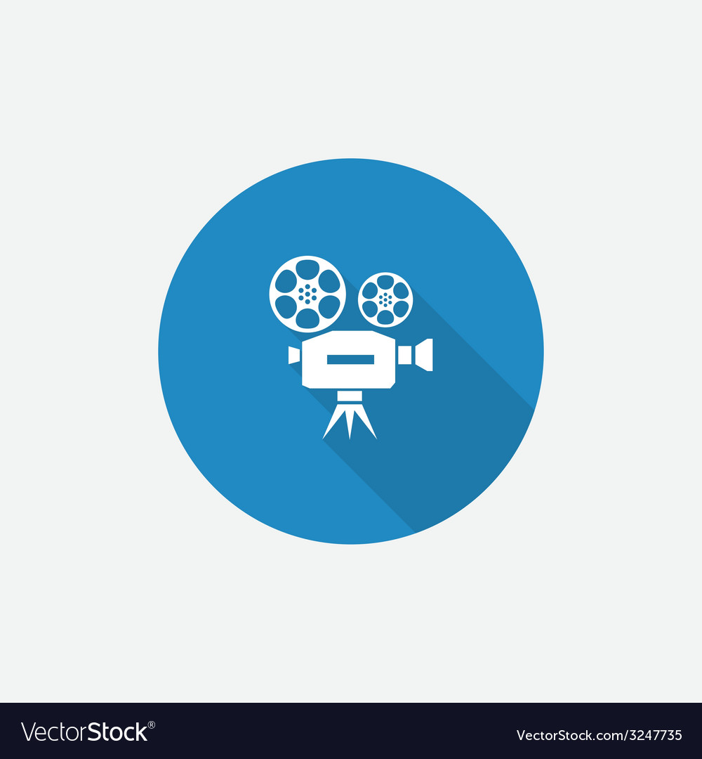 Video flat blue simple icon with long shadow vector | Price: 1 Credit (USD $1)