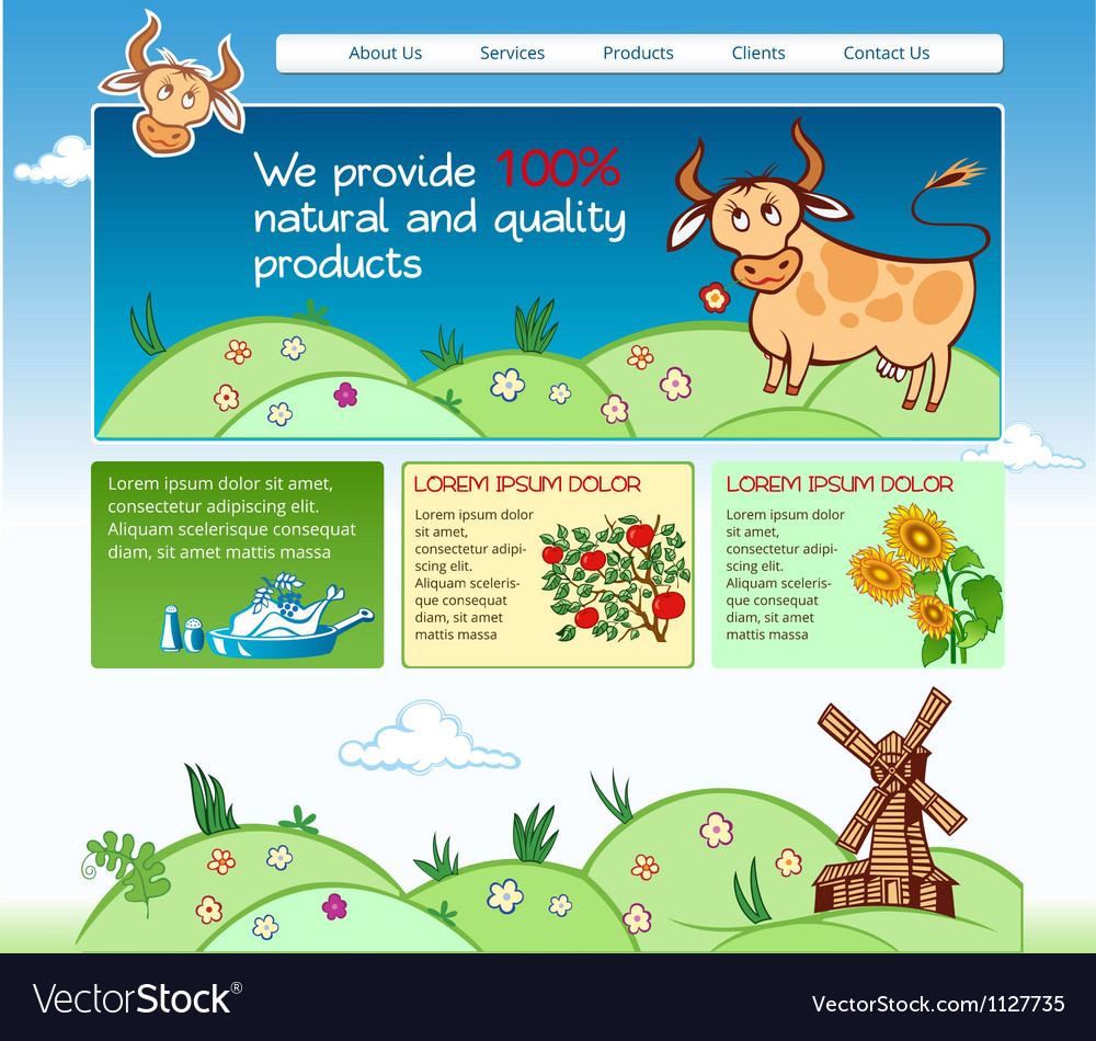 Web template for agricultural business vector | Price: 1 Credit (USD $1)