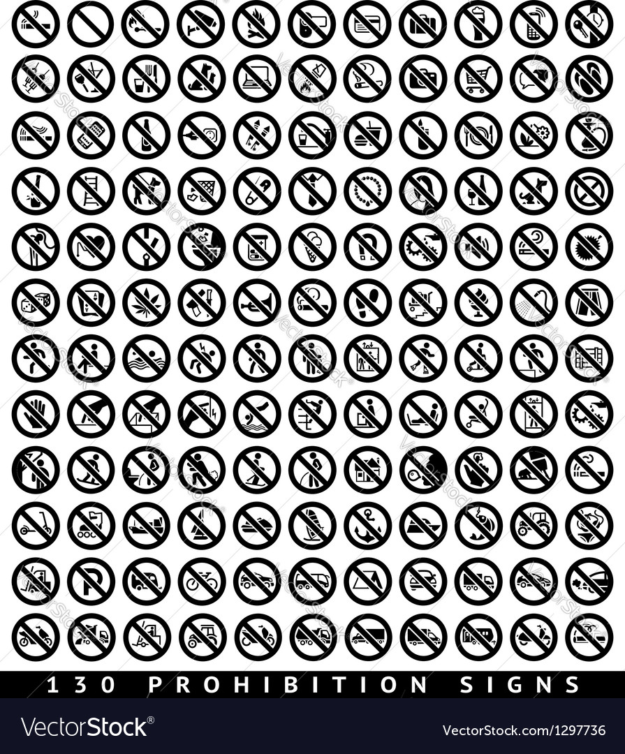 130 prohibition black signs vector | Price: 1 Credit (USD $1)