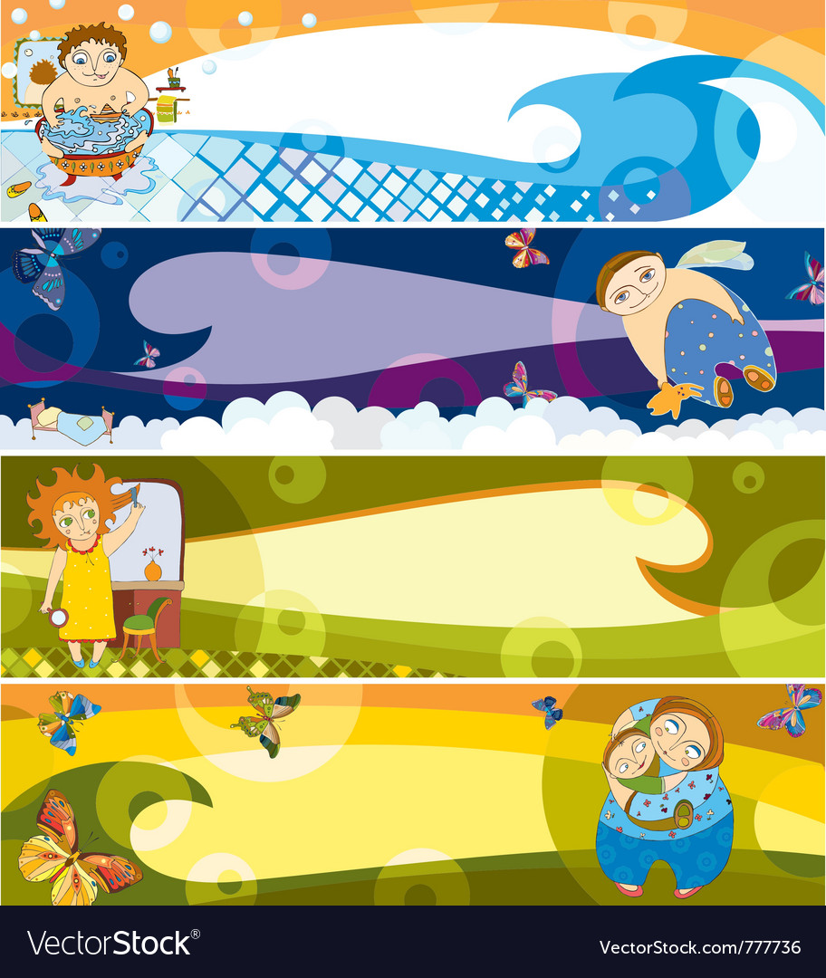 Children banner set vector | Price: 3 Credit (USD $3)