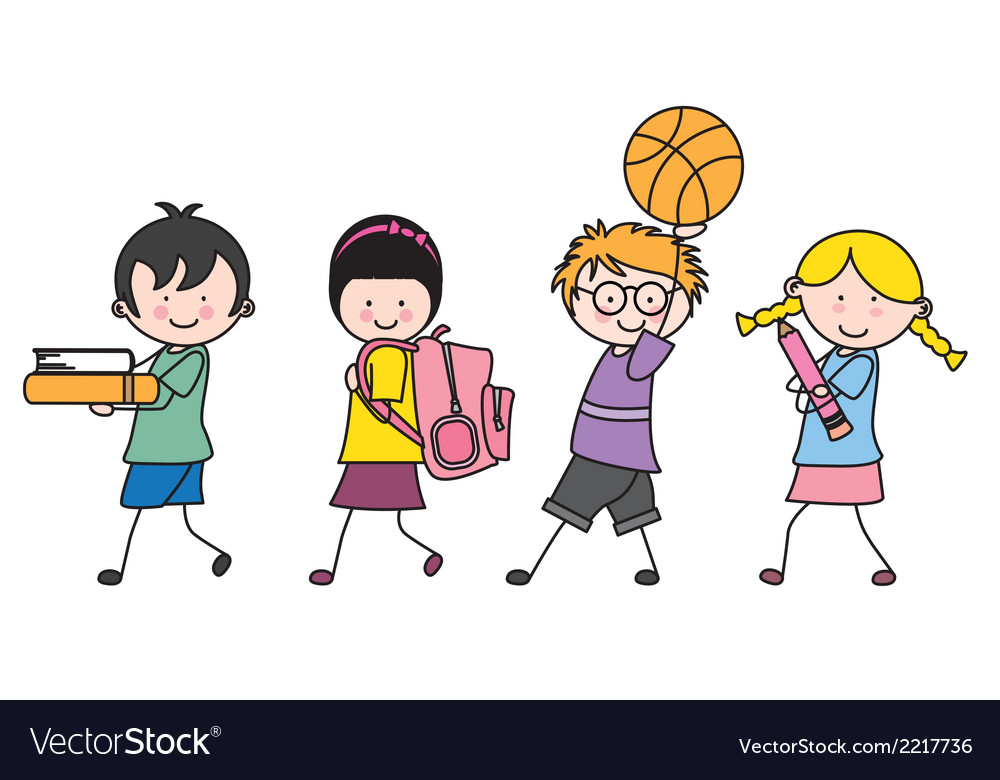 Children going to school vector | Price: 1 Credit (USD $1)