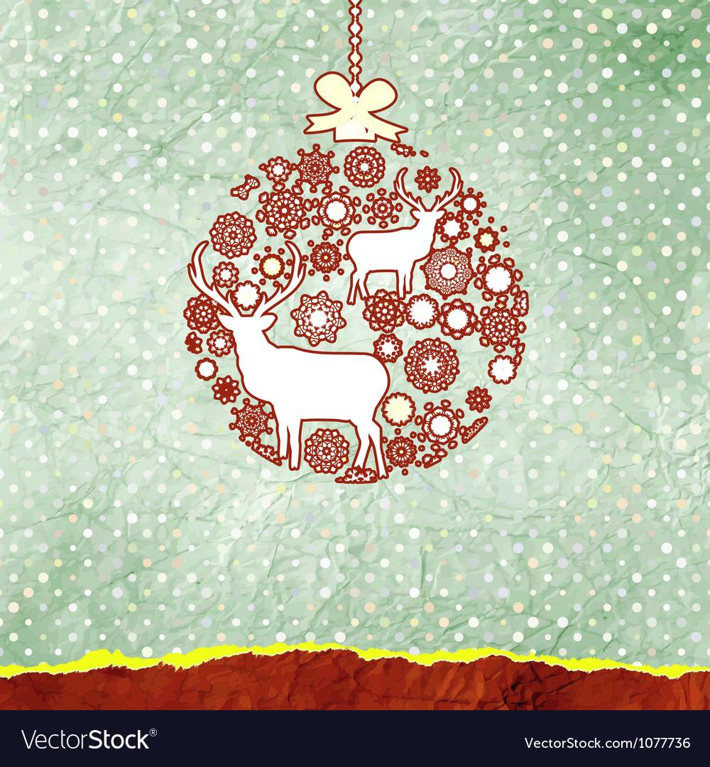 Christmas deer bauble card vector   Price: 1 Credit (USD $1)