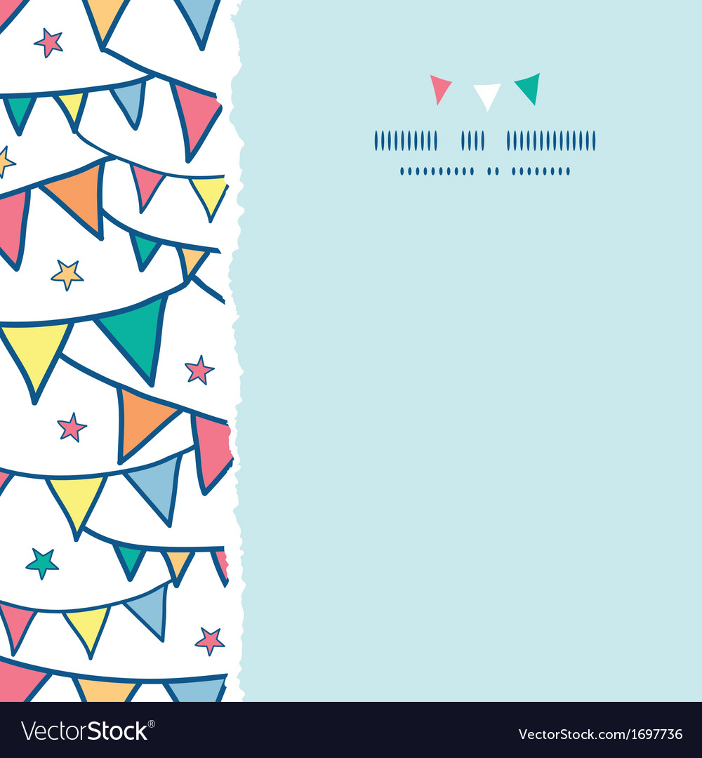 Colorful doodle bunting flags square torn seamless vector | Price: 1 Credit (USD $1)
