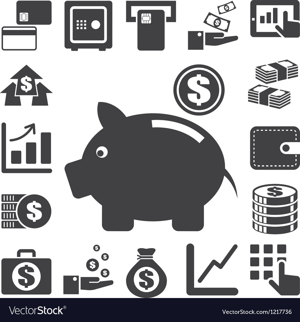 Finance and money icon set eps10 vector | Price: 1 Credit (USD $1)