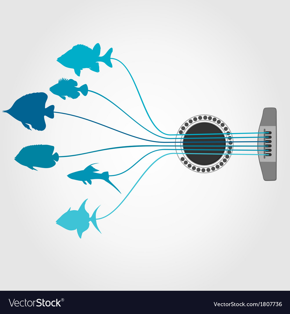 Fish a guitar vector | Price: 1 Credit (USD $1)