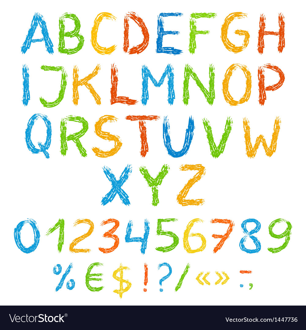 Grunge colorful english alphabet with symbols vector | Price: 1 Credit (USD $1)