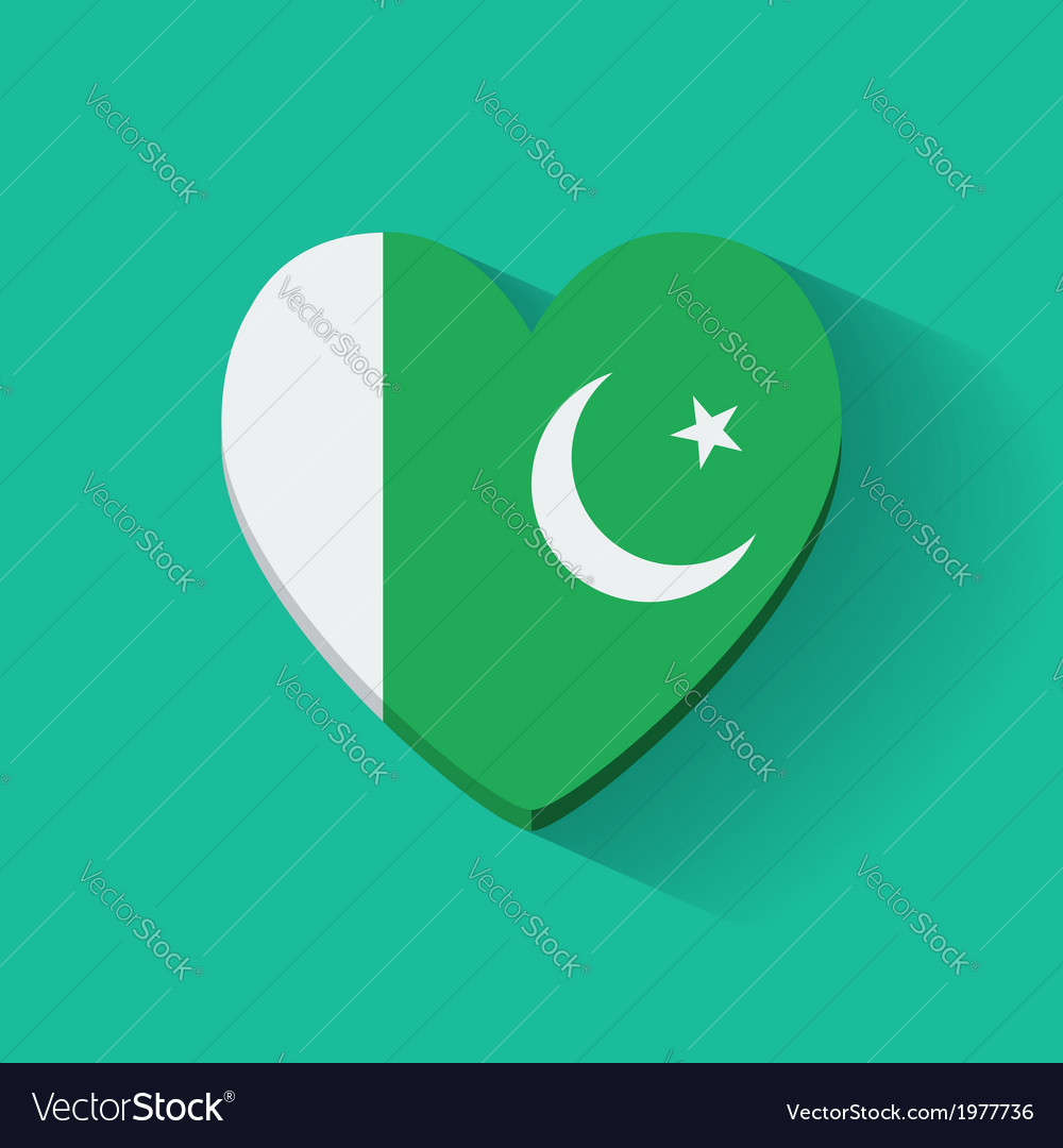 Heart-shaped icon with flag of pakistan vector | Price: 1 Credit (USD $1)