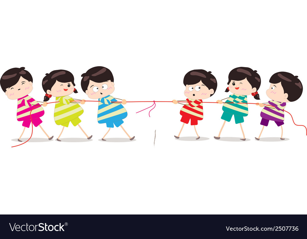 Little kids playing tug of war vector | Price: 1 Credit (USD $1)