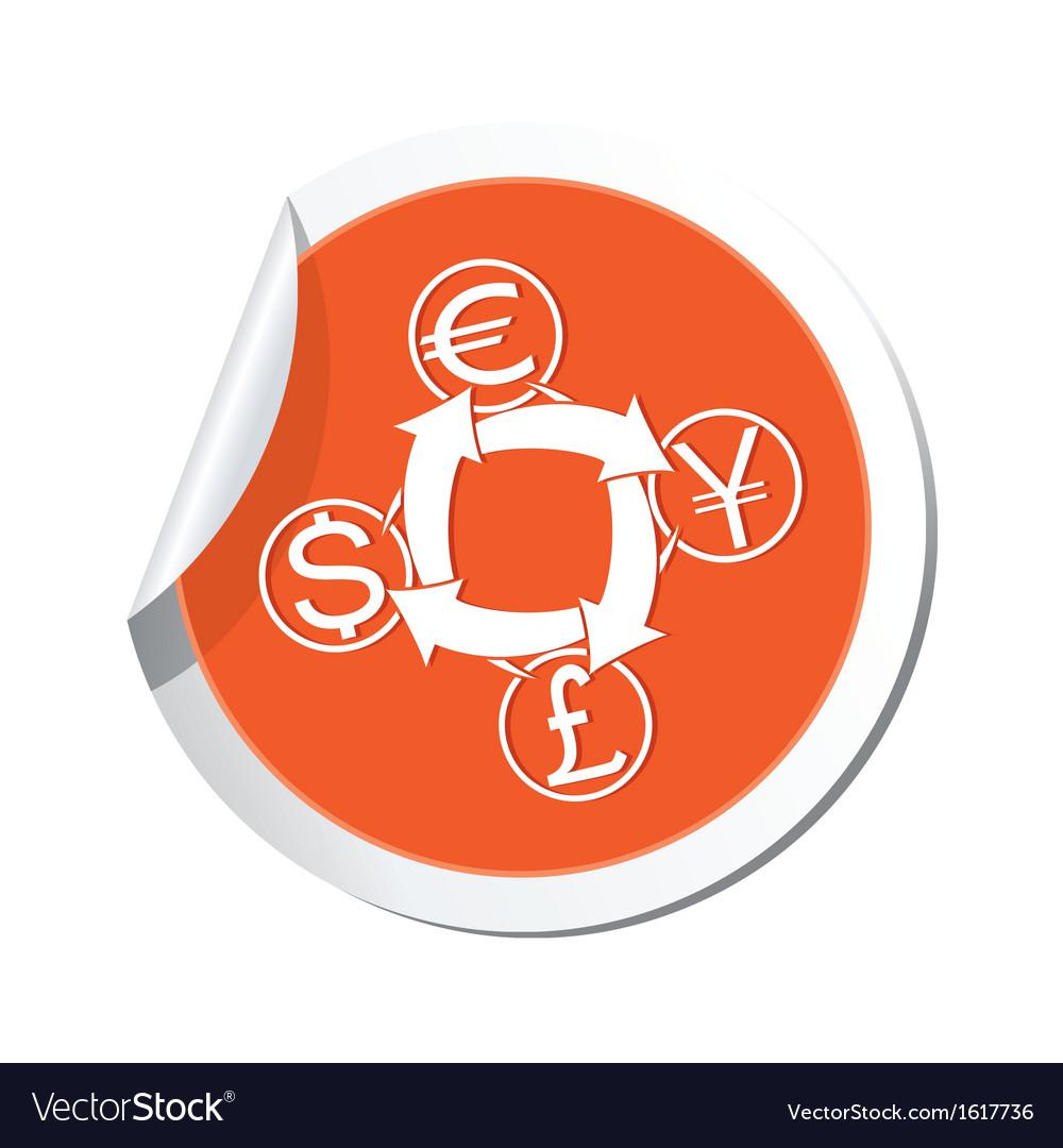 Money exchange icon orange label vector | Price: 1 Credit (USD $1)