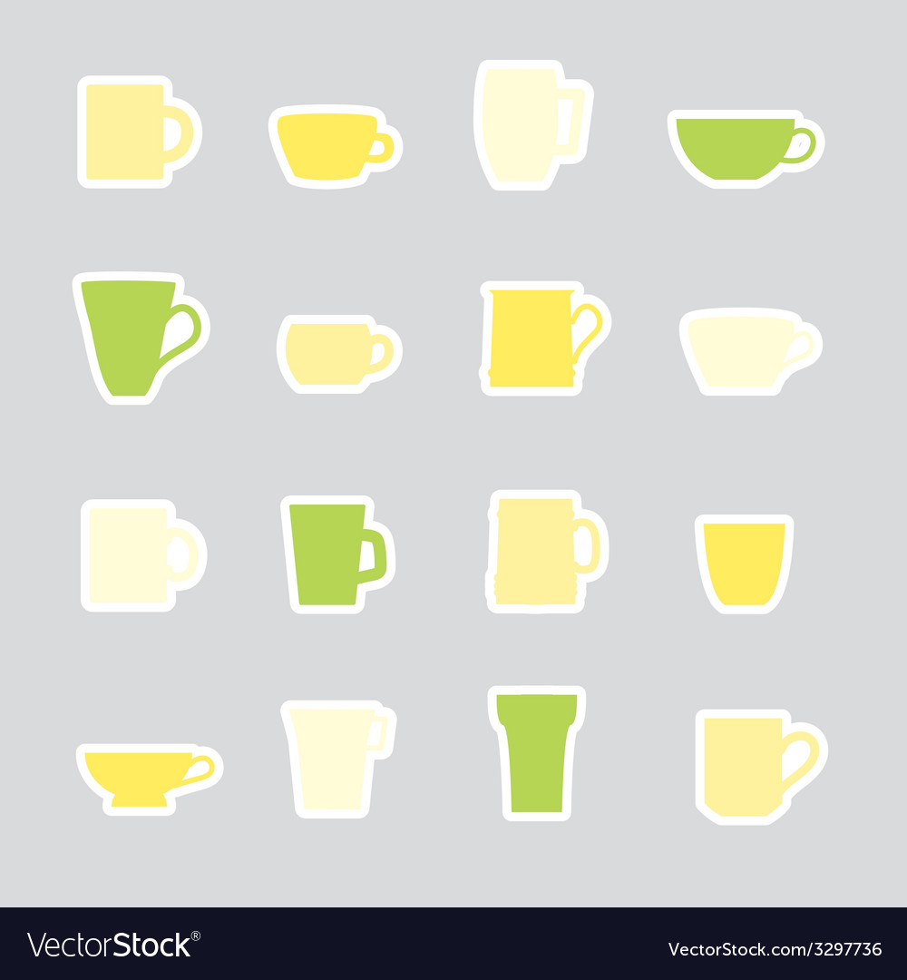 Mugs and cups color simple stickers set eps10 vector | Price: 1 Credit (USD $1)