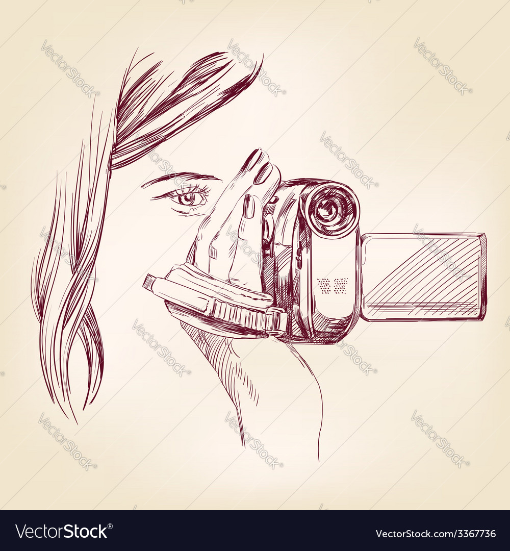 Videographer hand drawn llustration realistic vector | Price: 1 Credit (USD $1)