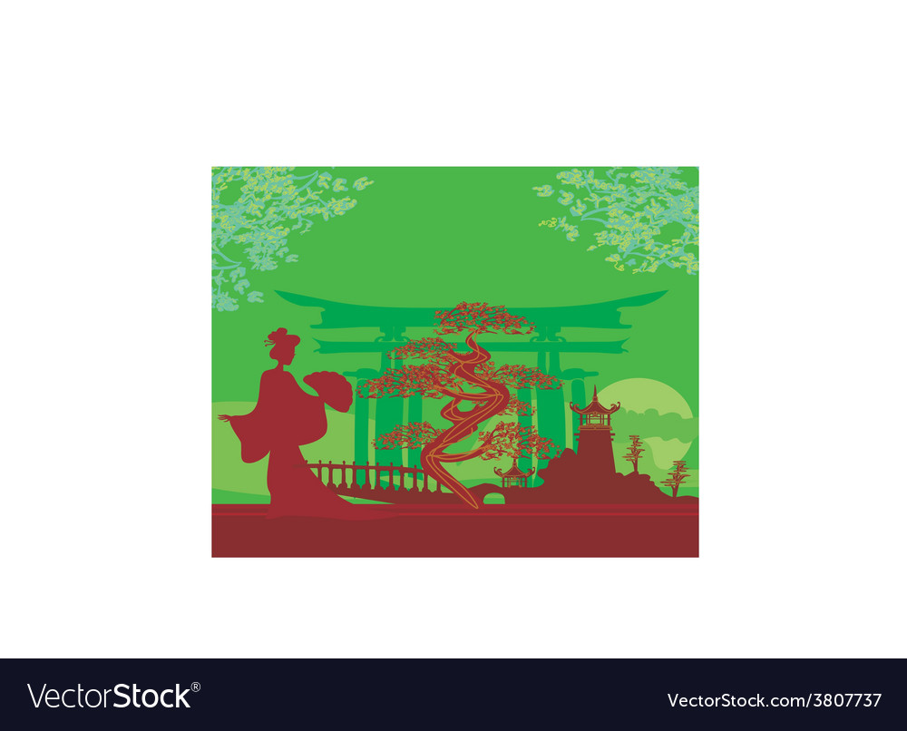 Abstract asian landscape and geisha vector | Price: 1 Credit (USD $1)