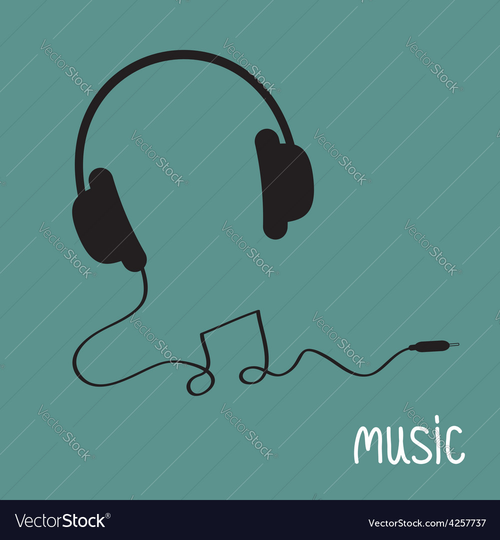 Black headphones with cord in shape of note music vector | Price: 1 Credit (USD $1)