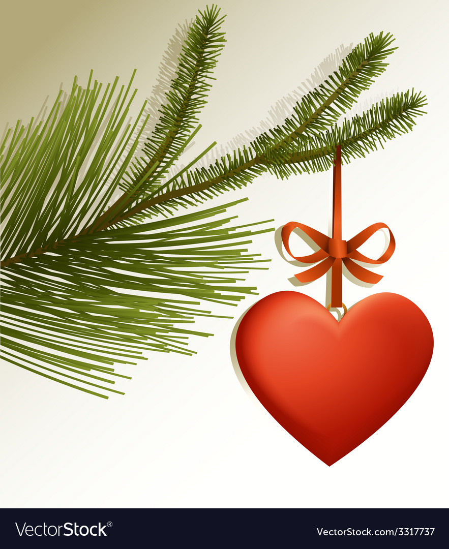 Christmas tree branch with red heart vector | Price: 3 Credit (USD $3)